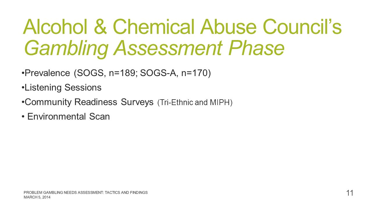 Alcohol & Chemical Abuse Council's Gambling Assessment Phase Prevalence (SOGS, n=189; SOGS-A, n=170) Listening Sessions Community Readiness Surveys (T