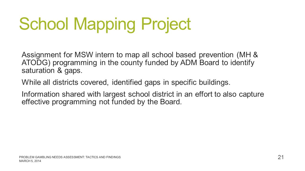 School Mapping Project Assignment for MSW intern to map all school based prevention (MH & ATODG) programming in the county funded by ADM Board to iden
