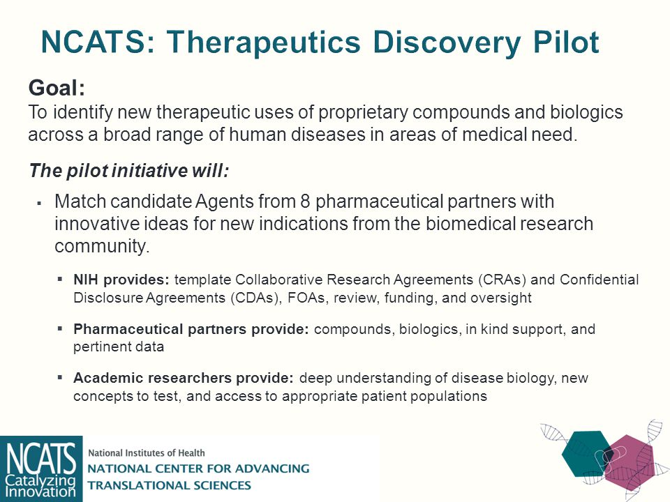 Goal: To identify new therapeutic uses of proprietary compounds and biologics across a broad range of human diseases in areas of medical need.