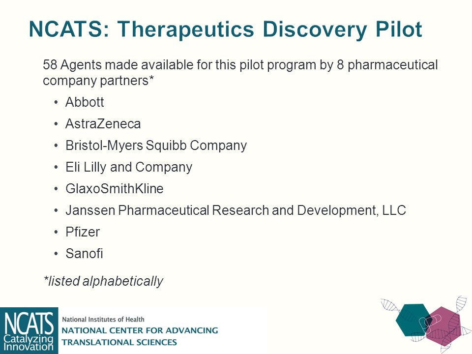 58 Agents made available for this pilot program by 8 pharmaceutical company partners* Abbott AstraZeneca Bristol-Myers Squibb Company Eli Lilly and Company GlaxoSmithKline Janssen Pharmaceutical Research and Development, LLC Pfizer Sanofi *listed alphabetically