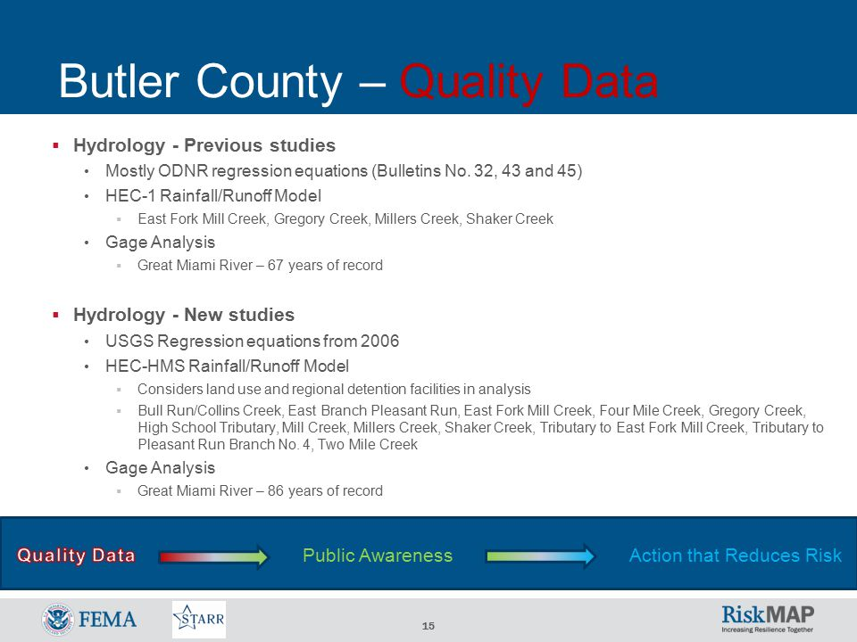 15 Butler County – Quality Data  Hydrology - Previous studies Mostly ODNR regression equations (Bulletins No.