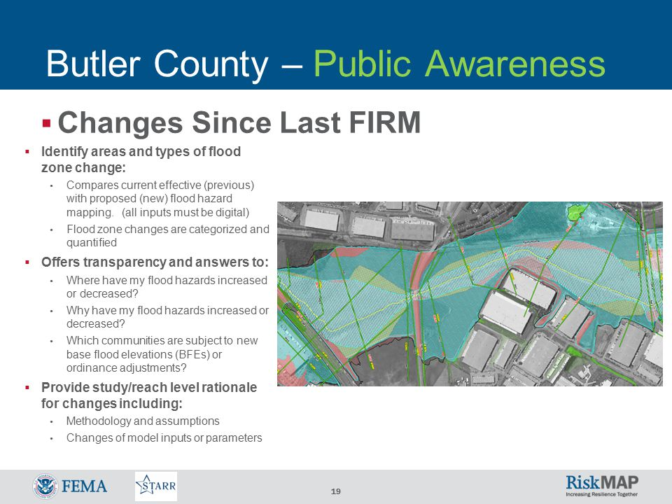 19  Changes Since Last FIRM Butler County – Public Awareness  Identify areas and types of flood zone change: Compares current effective (previous) with proposed (new) flood hazard mapping.