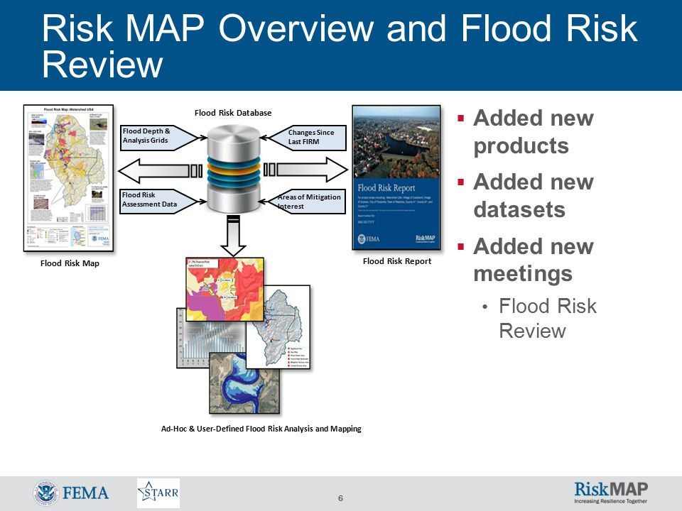 6 Risk MAP Overview and Flood Risk Review  Added new products  Added new datasets  Added new meetings Flood Risk Review Flood Risk Database Flood Risk Map Flood Risk Report Ad-Hoc & User-Defined Flood Risk Analysis and Mapping Flood Depth & Analysis Grids Flood Risk Assessment Data Areas of Mitigation Interest Changes Since Last FIRM