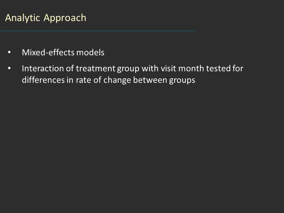 Analytic Approach Mixed-effects models Interaction of treatment group with visit month tested for differences in rate of change between groups