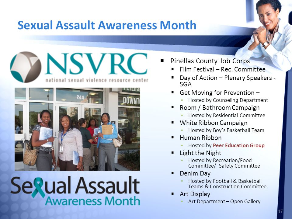 Sexual Assault Awareness Month  Pinellas County Job Corps  Film Festival – Rec.