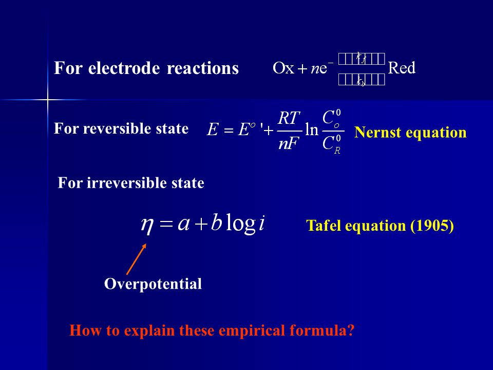 Potential curve described by Morse empirical equation Activated complex Reactant product Reaction coordinate Standard free energy In electrochemistry, electrochemical potential was used instead of chemical potential (Gibbs free energy)