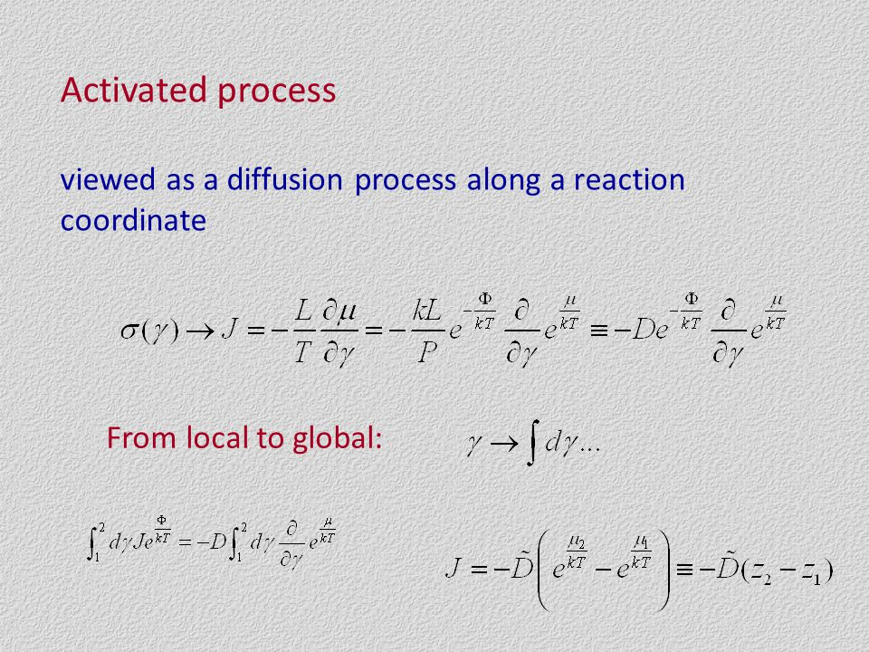 Activated process viewed as a diffusion process along a reaction coordinate From local to global: