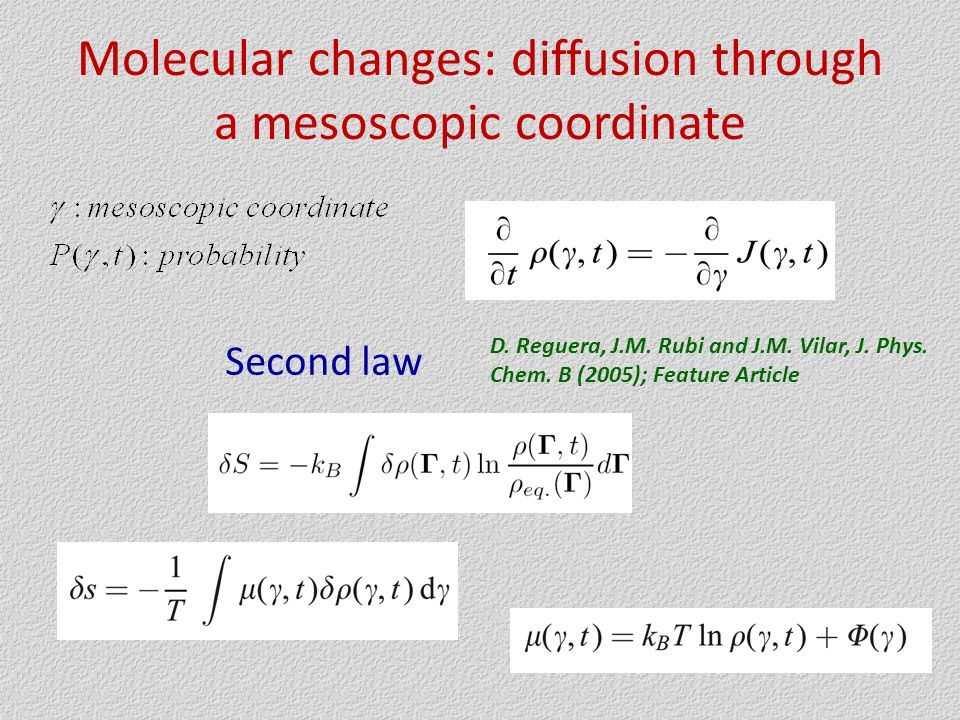Molecular changes: diffusion through a mesoscopic coordinate Second law D.