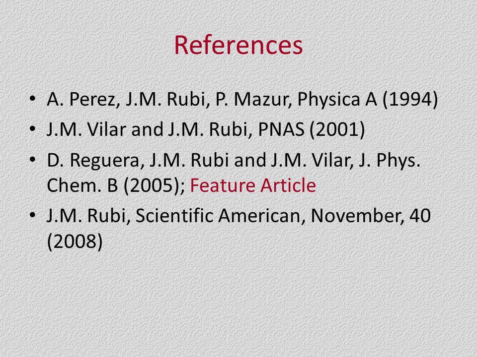 References A. Perez, J.M. Rubi, P. Mazur, Physica A (1994) J.M.