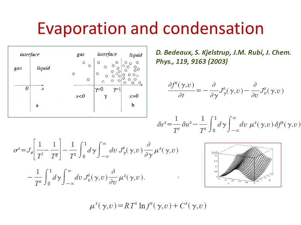 Evaporation and condensation D. Bedeaux, S. Kjelstrup, J.M. Rubi, J. Chem. Phys., 119, 9163 (2003)