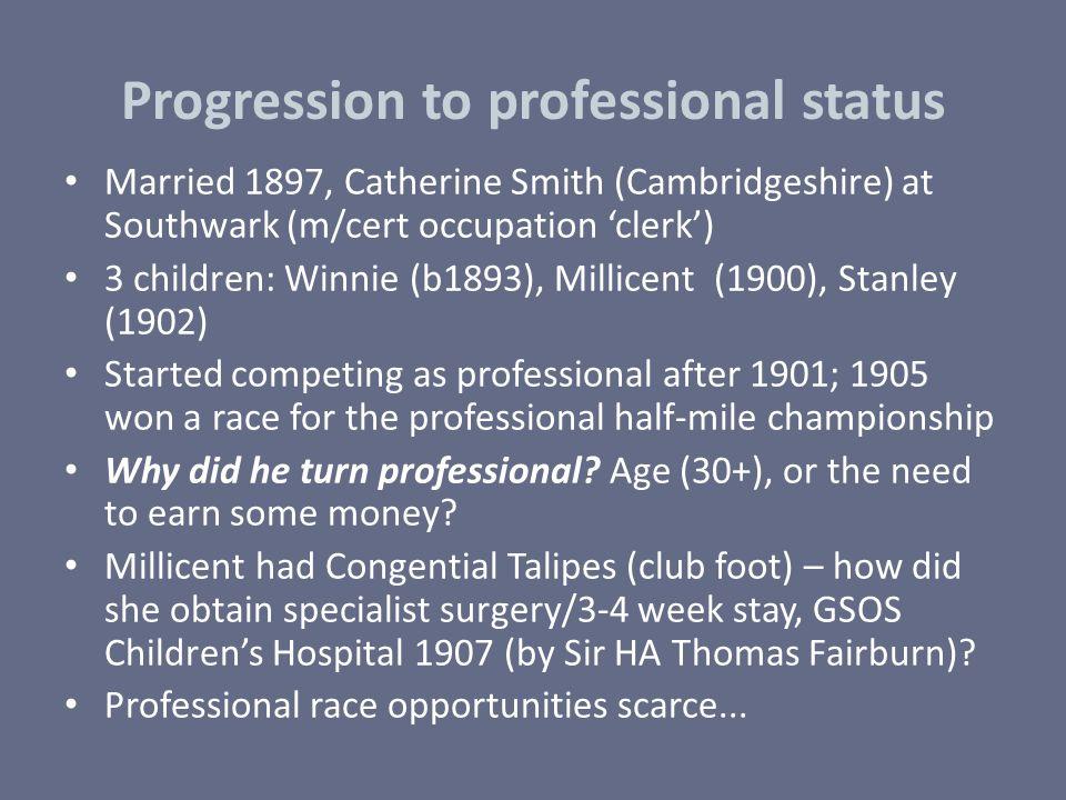 Progression to professional status Married 1897, Catherine Smith (Cambridgeshire) at Southwark (m/cert occupation 'clerk') 3 children: Winnie (b1893),