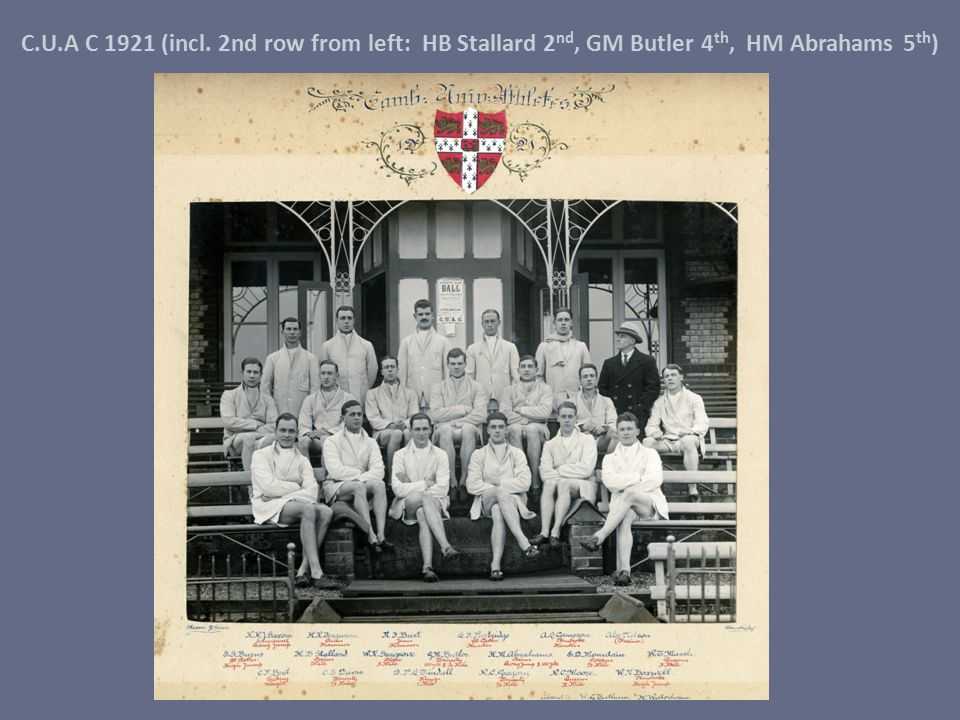 C.U.A C 1921 (incl. 2nd row from left: HB Stallard 2 nd, GM Butler 4 th, HM Abrahams 5 th )