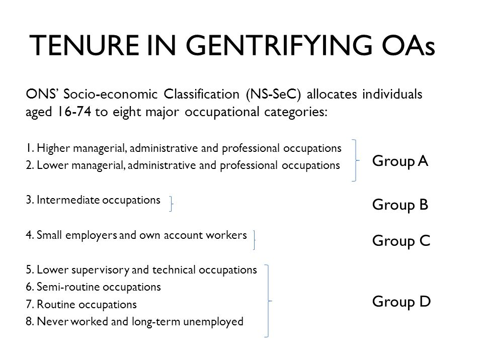 ONS' Socio-economic Classification (NS-SeC) allocates individuals aged 16-74 to eight major occupational categories: 1.