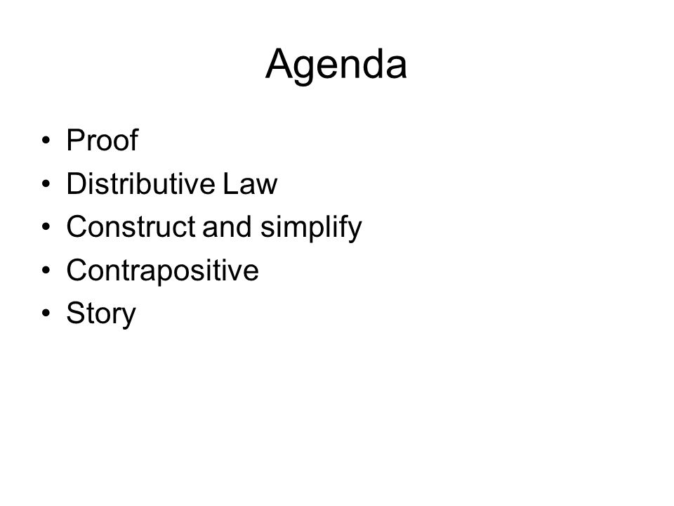 Agenda Proof Distributive Law Construct and simplify Contrapositive Story