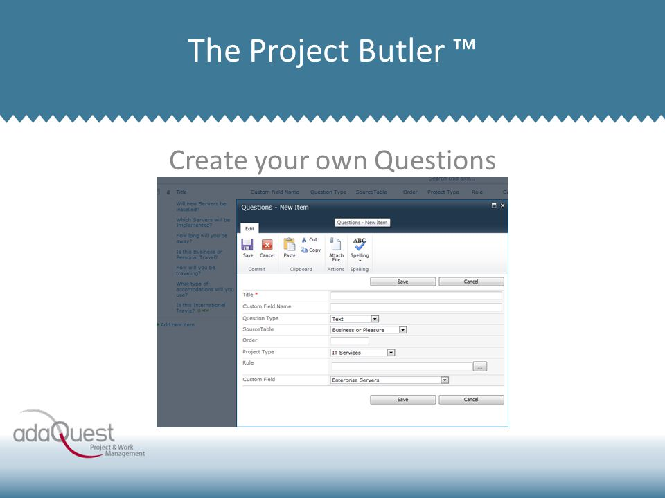 Create your own Questions Company Overview The Project Butler ™