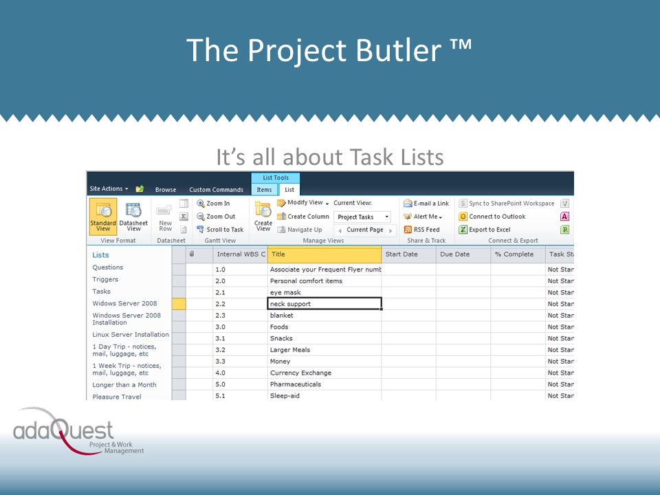 It's all about Task Lists Company Overview The Project Butler ™