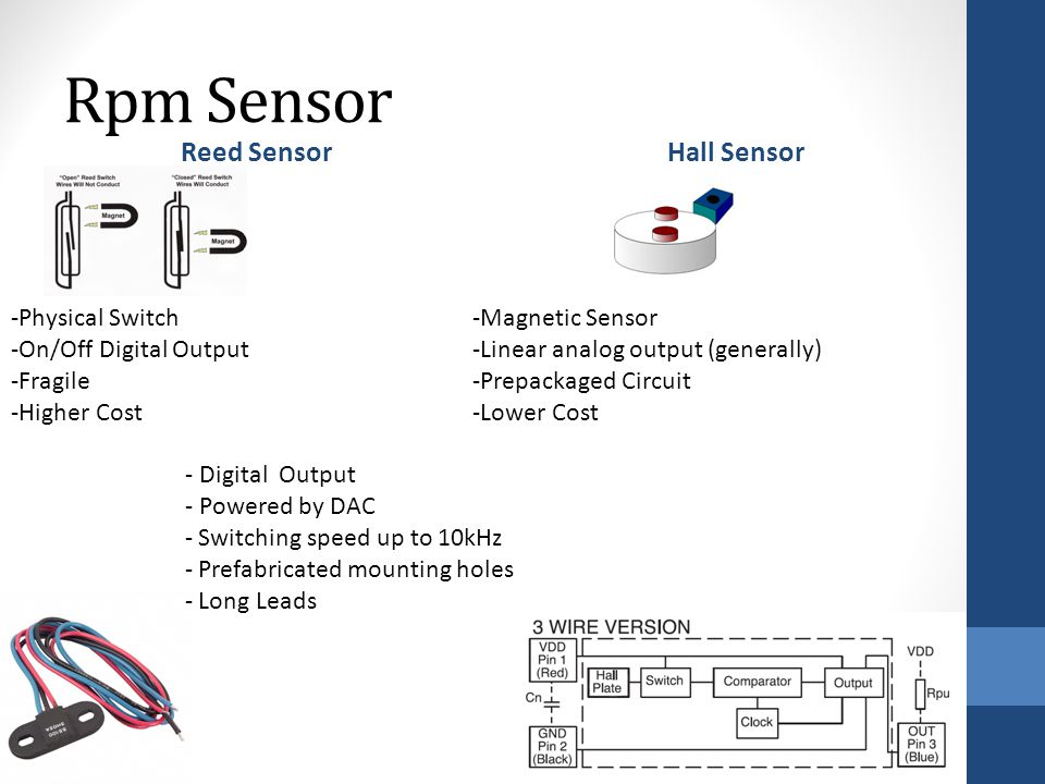 Rpm Sensor Reed SensorHall Sensor -Physical Switch -On/Off Digital Output -Fragile -Higher Cost -Magnetic Sensor -Linear analog output (generally) -Prepackaged Circuit -Lower Cost - Digital Output - Powered by DAC - Switching speed up to 10kHz - Prefabricated mounting holes - Long Leads