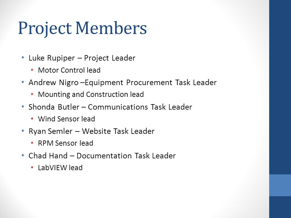 Project Members Luke Rupiper – Project Leader Motor Control lead Andrew Nigro –Equipment Procurement Task Leader Mounting and Construction lead Shonda Butler – Communications Task Leader Wind Sensor lead Ryan Semler – Website Task Leader RPM Sensor lead Chad Hand – Documentation Task Leader LabVIEW lead