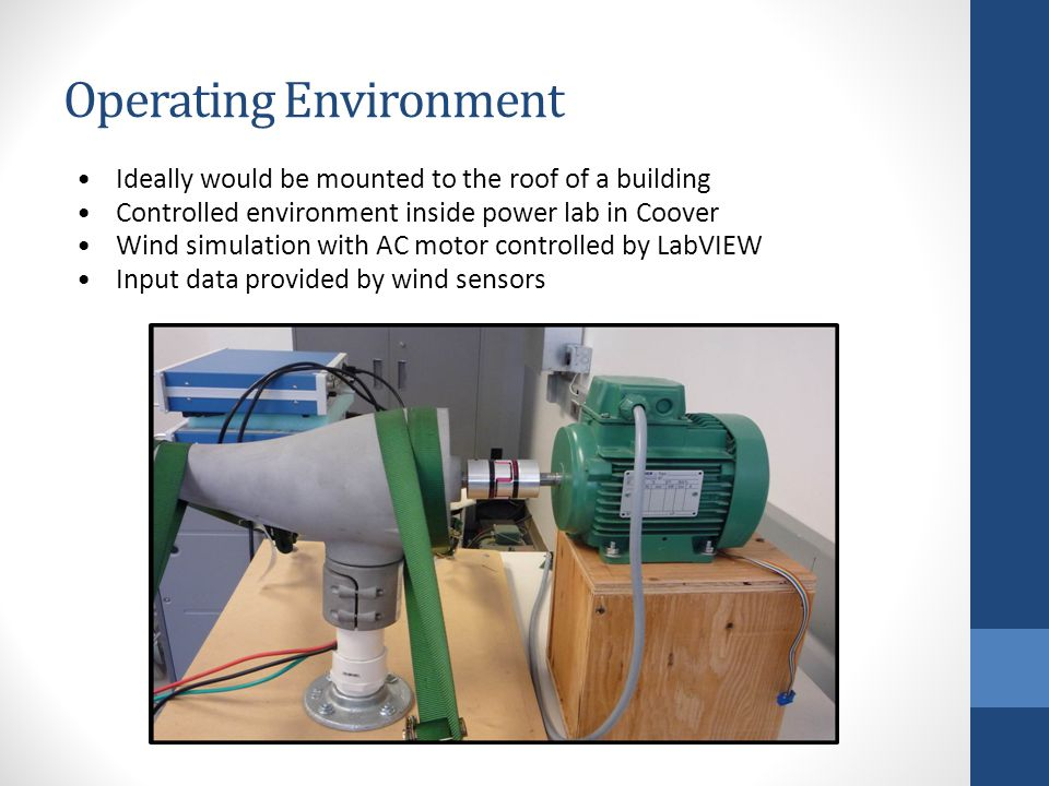 Operating Environment Ideally would be mounted to the roof of a building Controlled environment inside power lab in Coover Wind simulation with AC motor controlled by LabVIEW Input data provided by wind sensors