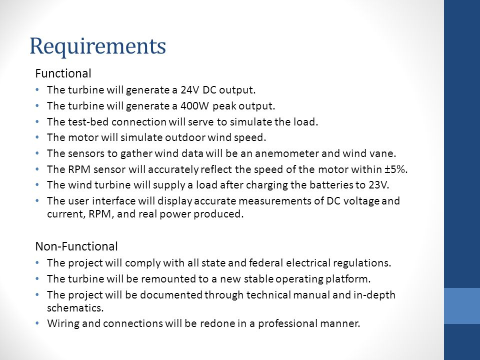 Requirements Functional The turbine will generate a 24V DC output.