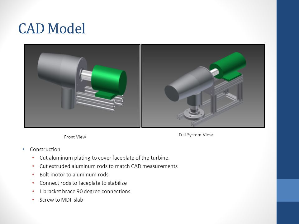 CAD Model Front View Full System View Construction Cut aluminum plating to cover faceplate of the turbine.