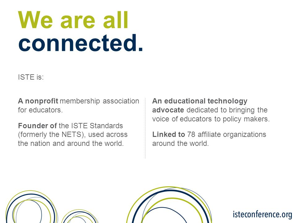 We are all connected. ISTE is: A nonprofit membership association for educators. Founder of the ISTE Standards (formerly the NETS), used across the na