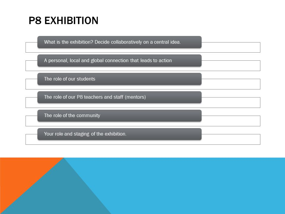 P8 EXHIBITION What is the exhibition.