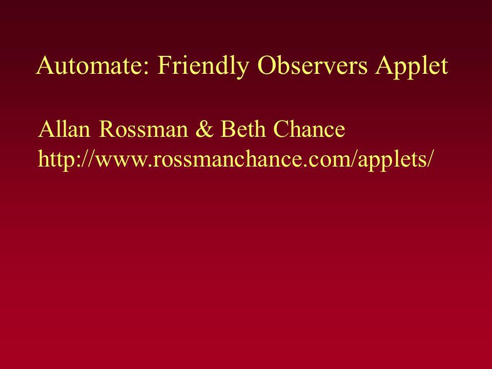 Automate: Friendly Observers Applet Allan Rossman & Beth Chance http://www.rossmanchance.com/applets/