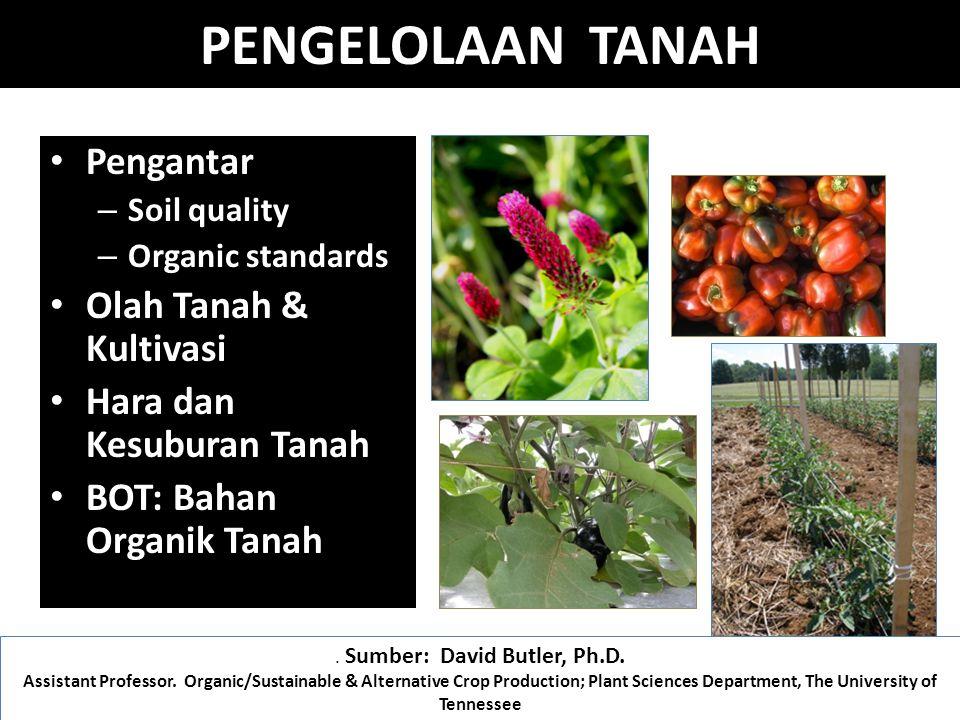 Pengantar – Soil quality – Organic standards Olah Tanah & Kultivasi Hara dan Kesuburan Tanah BOT: Bahan Organik Tanah.