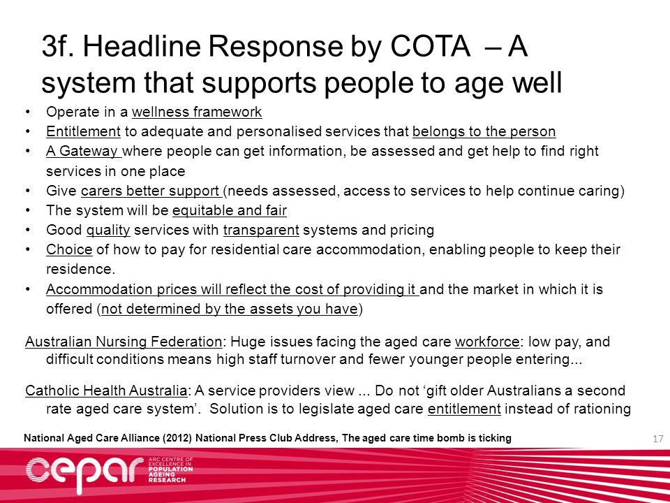 3f. Headline Response by COTA – A system that supports people to age well Operate in a wellness framework Entitlement to adequate and personalised ser