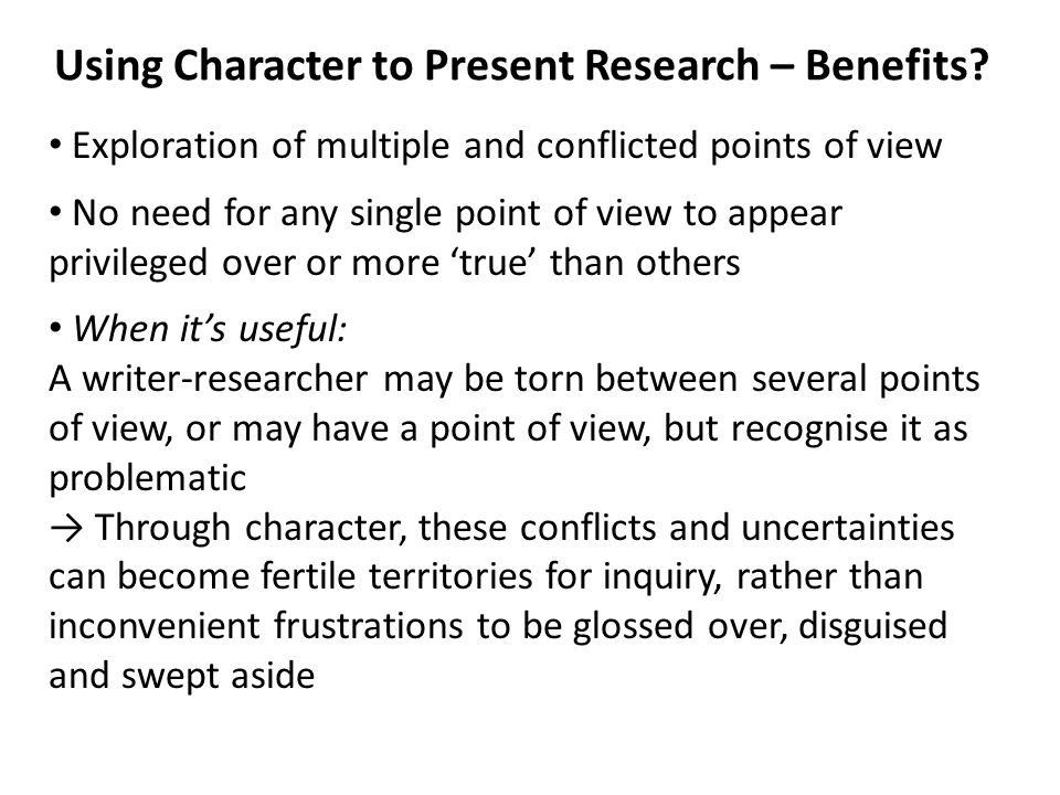 Using Character to Present Research – Benefits.