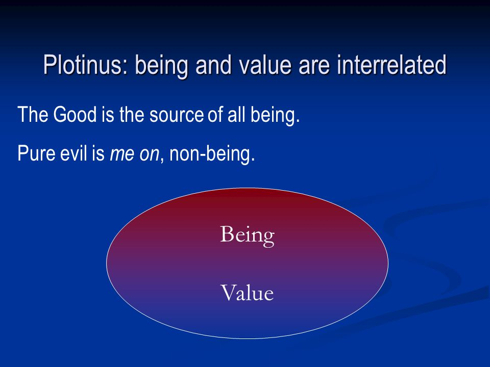 Being Value Plotinus: being and value are interrelated The Good is the source of all being.