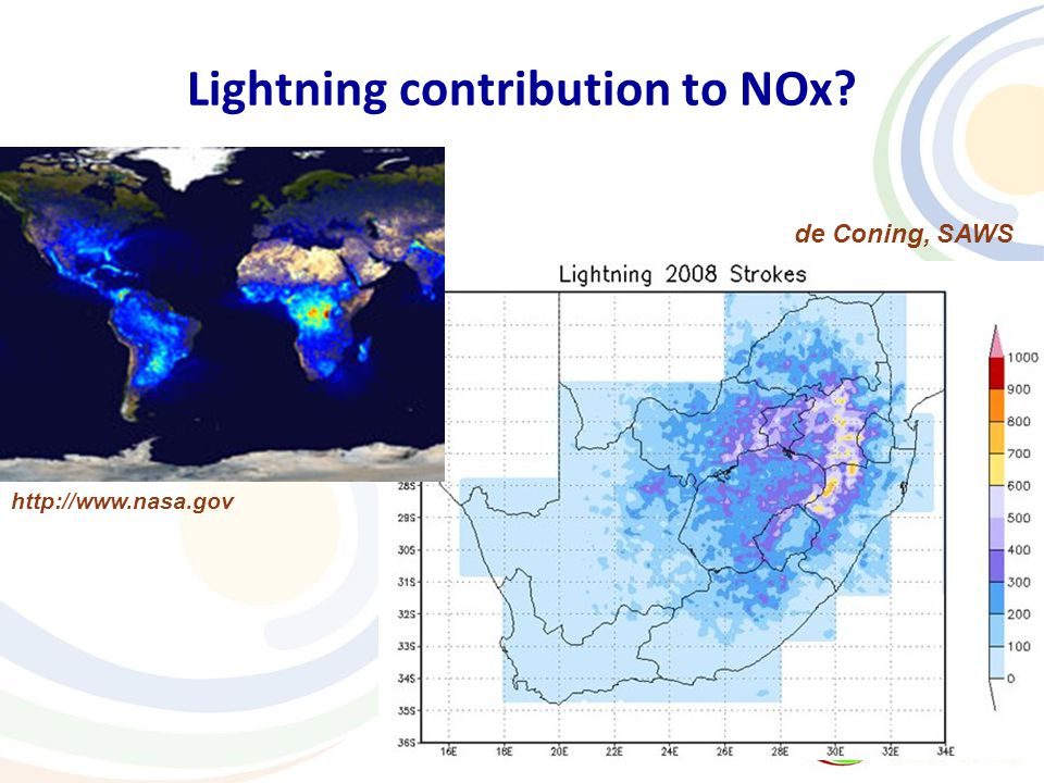 Lightning contribution to NOx de Coning, SAWS http://www.nasa.gov