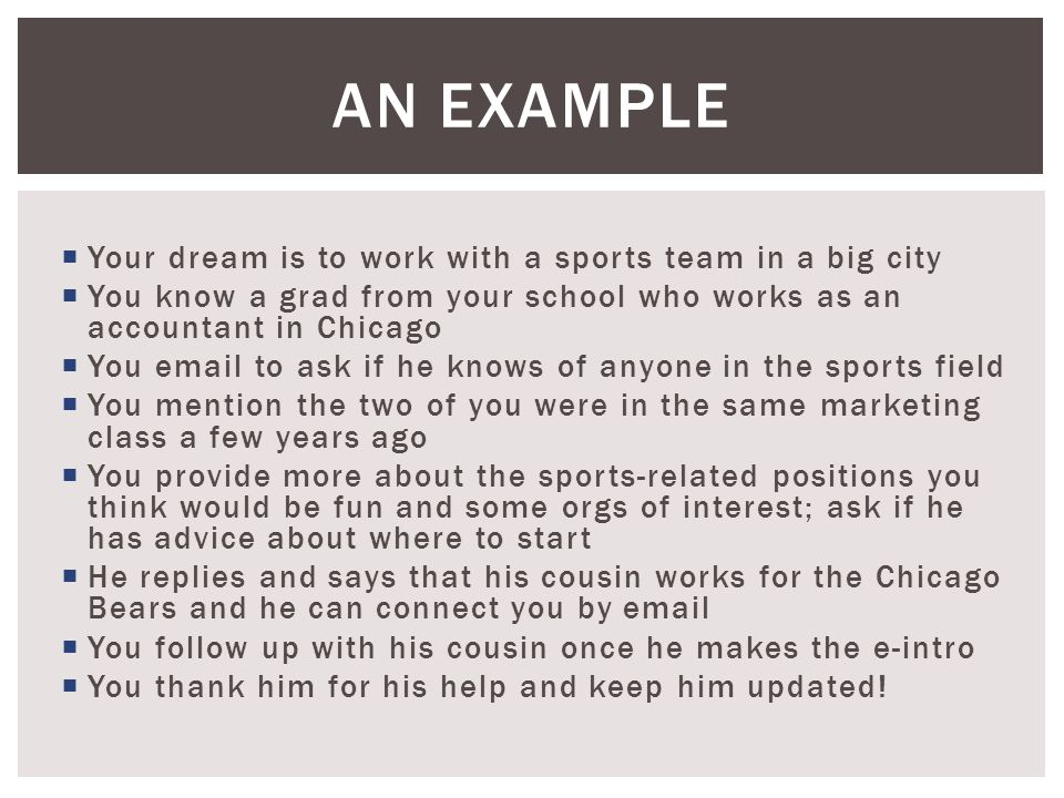  Your dream is to work with a sports team in a big city  You know a grad from your school who works as an accountant in Chicago  You email to ask if he knows of anyone in the sports field  You mention the two of you were in the same marketing class a few years ago  You provide more about the sports-related positions you think would be fun and some orgs of interest; ask if he has advice about where to start  He replies and says that his cousin works for the Chicago Bears and he can connect you by email  You follow up with his cousin once he makes the e-intro  You thank him for his help and keep him updated.