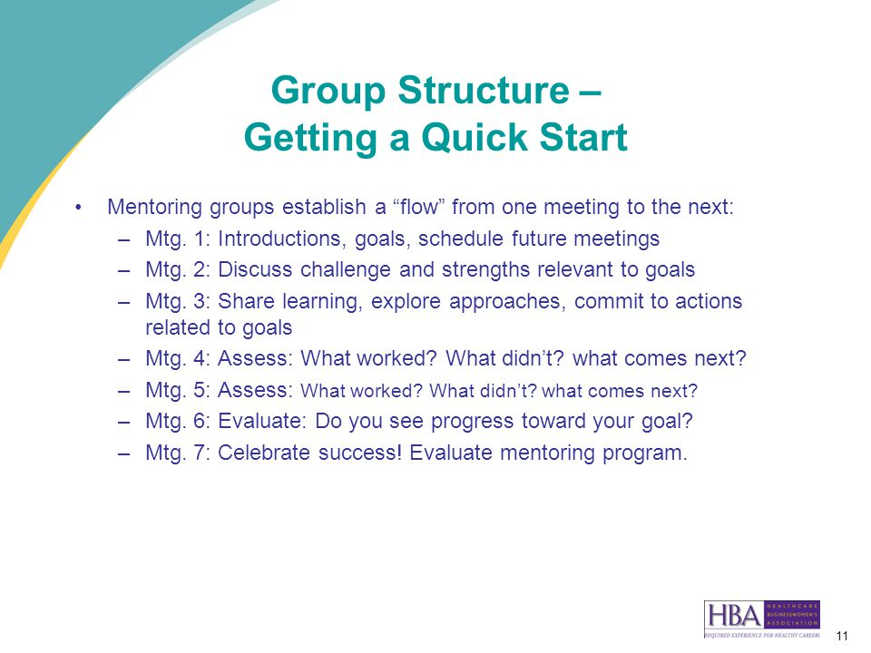 11 Group Structure – Getting a Quick Start Mentoring groups establish a flow from one meeting to the next: –Mtg.