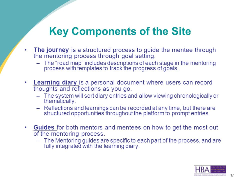 17 Key Components of the Site The journey is a structured process to guide the mentee through the mentoring process through goal setting.