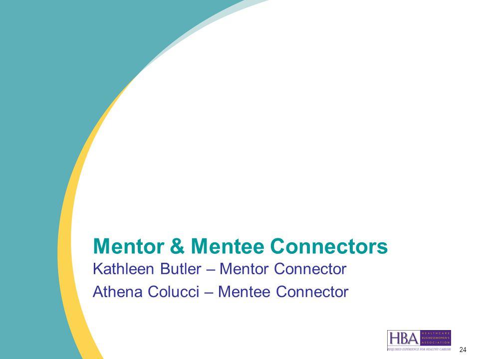 24 Mentor & Mentee Connectors Kathleen Butler – Mentor Connector Athena Colucci – Mentee Connector