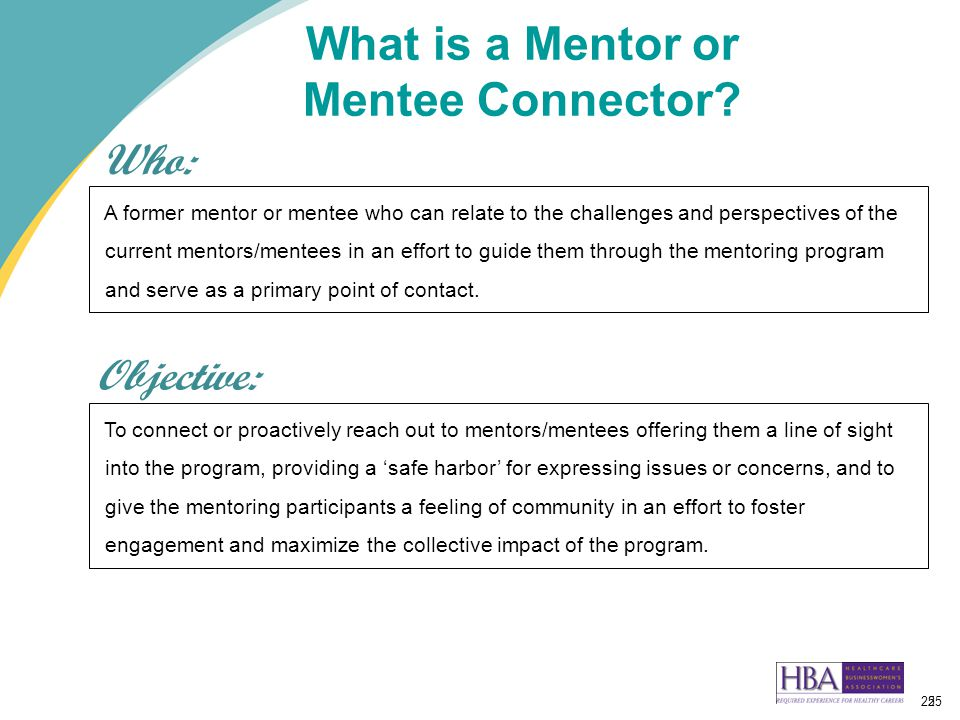 25 What is a Mentor or Mentee Connector.