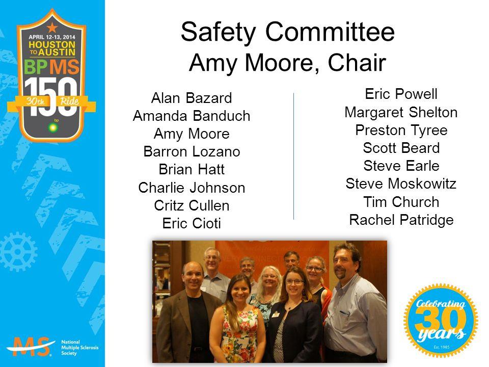 Safety Committee Amy Moore, Chair Eric Powell Margaret Shelton Preston Tyree Scott Beard Steve Earle Steve Moskowitz Tim Church Rachel Patridge Alan B