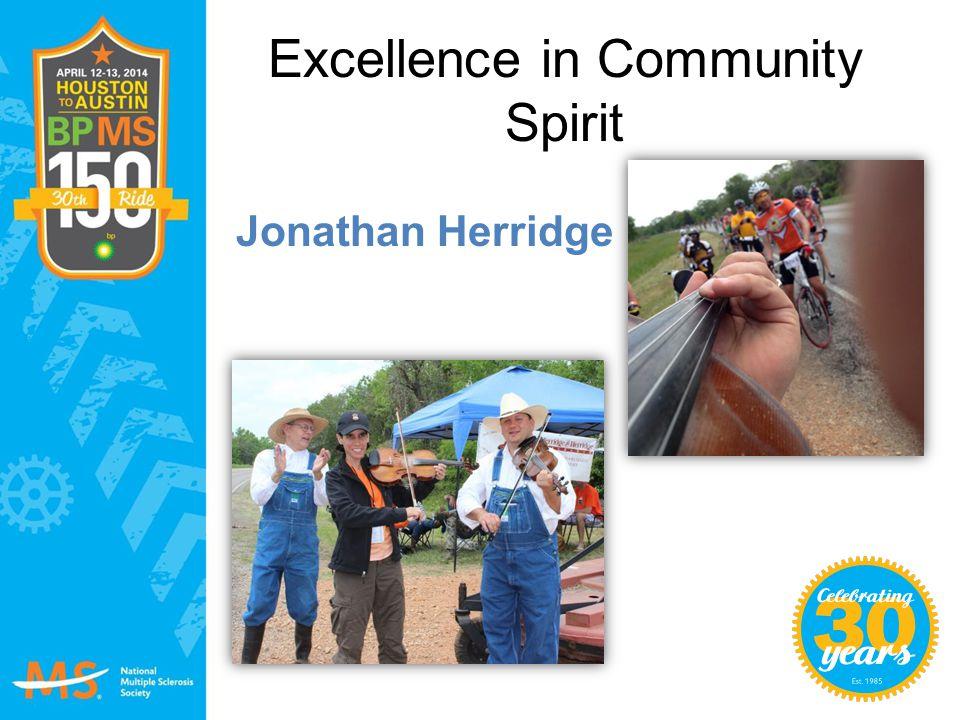 Excellence in Community Spirit Jonathan Herridge