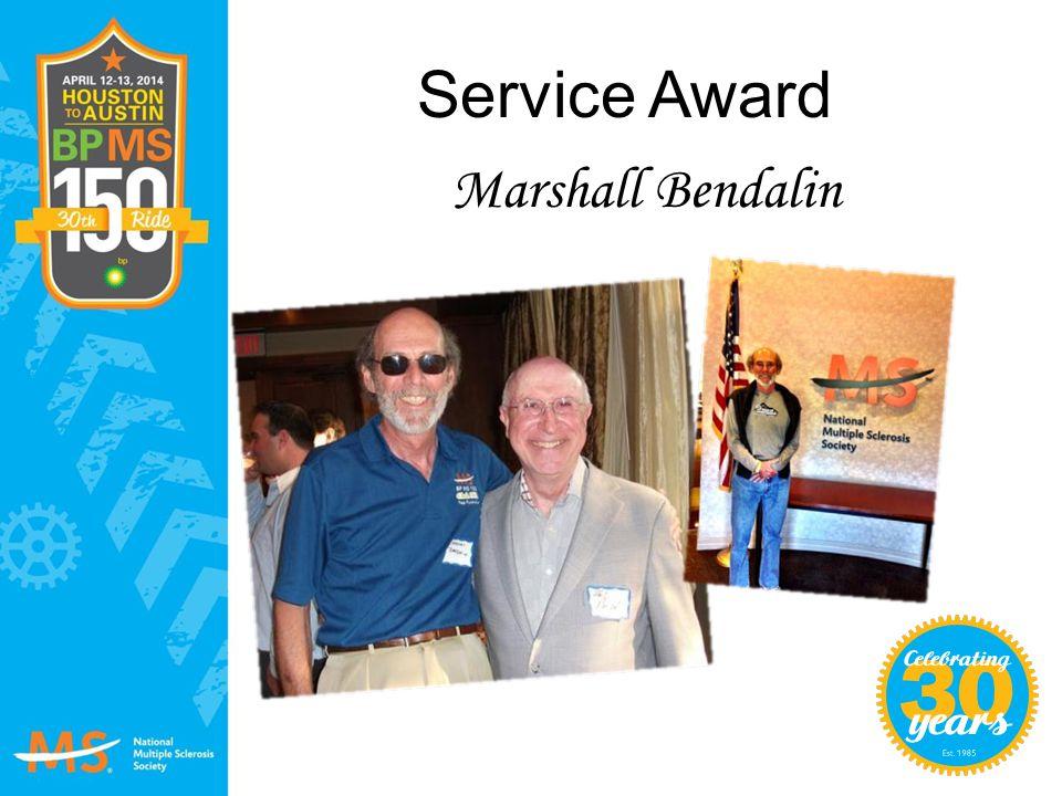 Service Award Marshall Bendalin