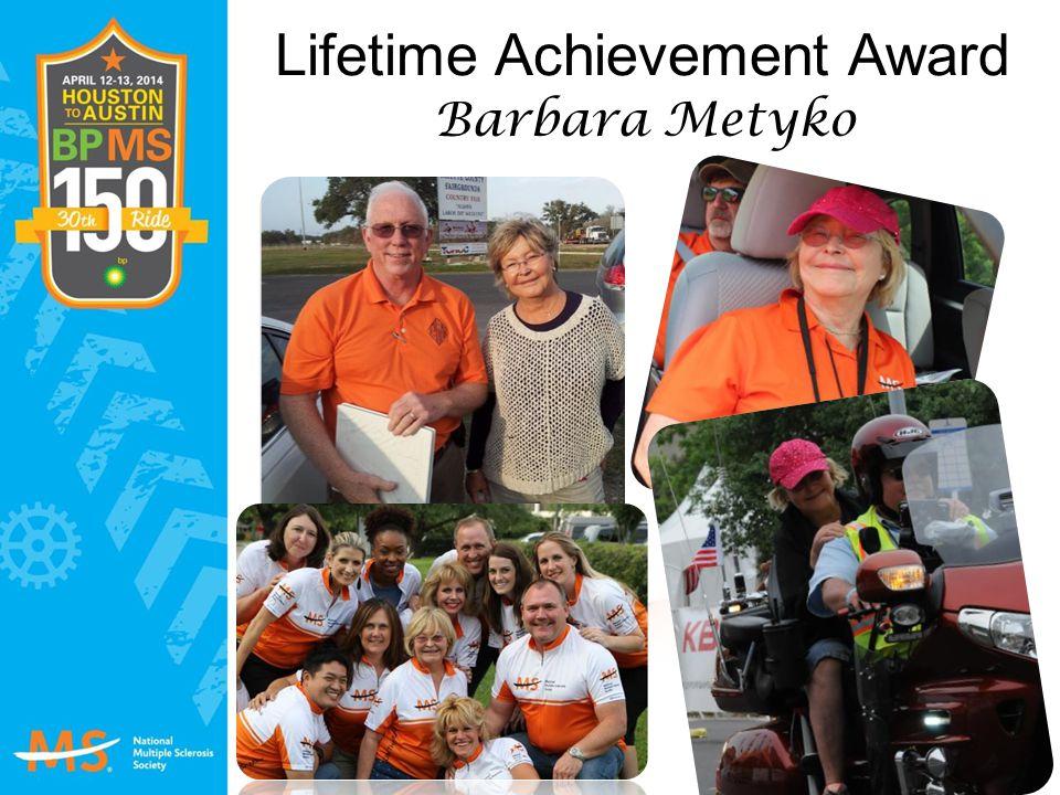 Lifetime Achievement Award Barbara Metyko