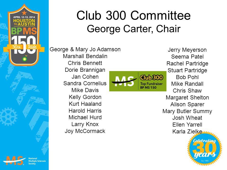 Club 300 Committee George Carter, Chair George & Mary Jo Adamson Marshall Bendalin Chris Bennett Dorie Brannigan Jan Cohen Sandra Cornelius Mike Davis