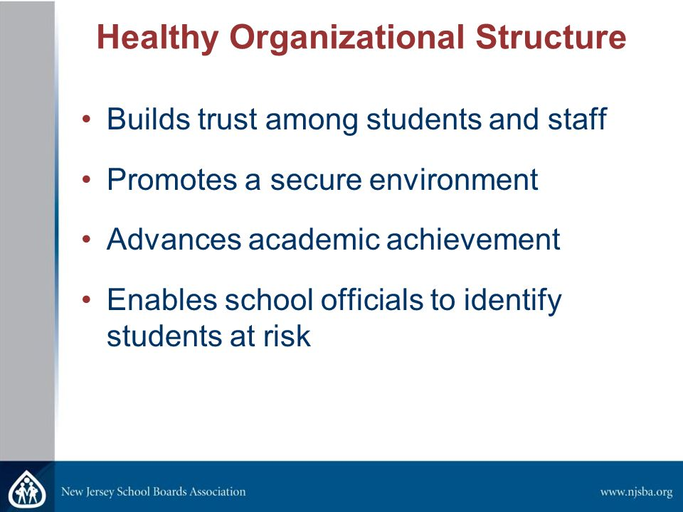 Healthy Organizational Structure Builds trust among students and staff Promotes a secure environment Advances academic achievement Enables school officials to identify students at risk