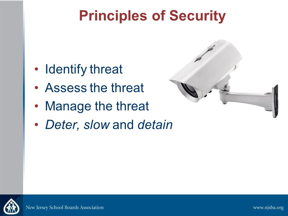 Principles of Security Identify threat Assess the threat Manage the threat Deter, slow and detain