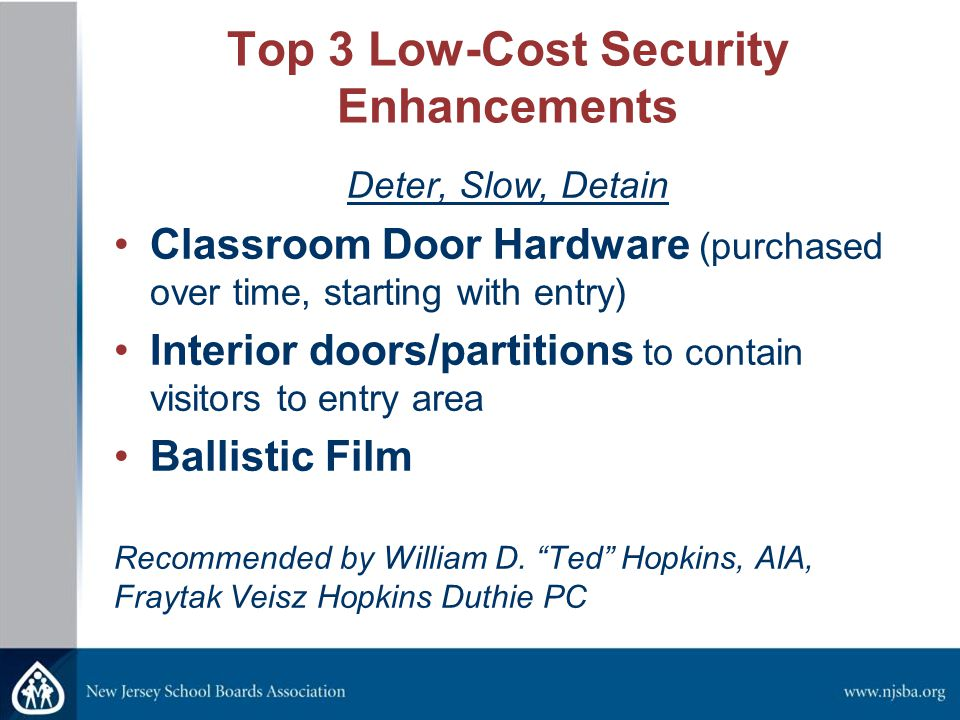Top 3 Low-Cost Security Enhancements Deter, Slow, Detain Classroom Door Hardware (purchased over time, starting with entry) Interior doors/partitions to contain visitors to entry area Ballistic Film Recommended by William D.