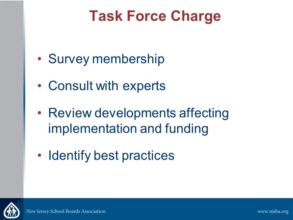 Task Force Charge Survey membership Consult with experts Review developments affecting implementation and funding Identify best practices