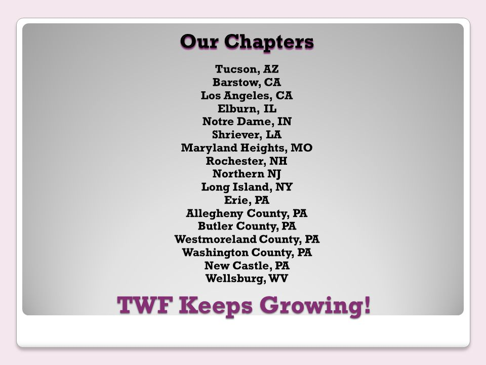 TWF Keeps Growing!