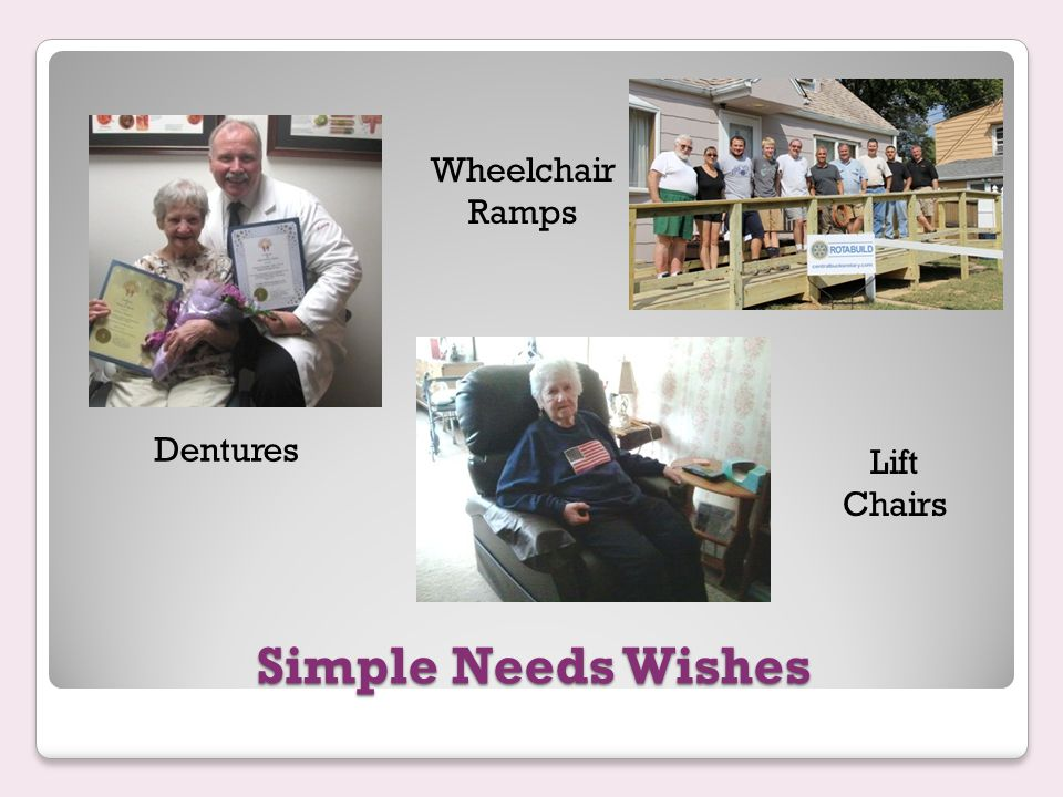 Simple Needs Wishes Dentures Lift Chairs Wheelchair Ramps