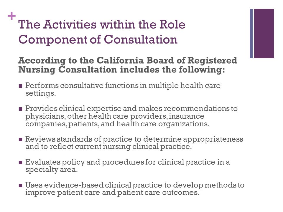 + The Activities within the Role Component of Consultation According to the California Board of Registered Nursing Consultation includes the following: Performs consultative functions in multiple health care settings.